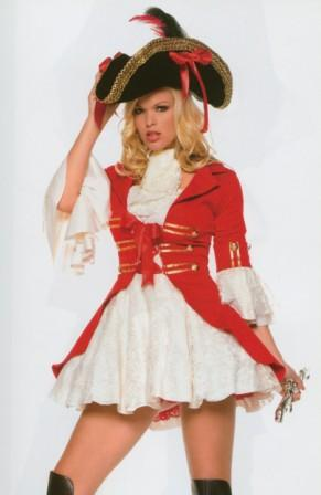 Captian Girl Pirate Red Uniforms Kool 4 Kats Costume Hire