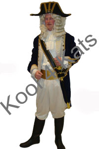 1700's Period Captain Blue Costume for hire at Kool 4 Kats