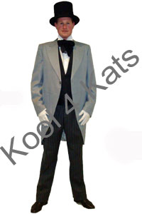 1900's Gentleman Top Hat and Morning Suit Costume for hire at Kool 4 Kats