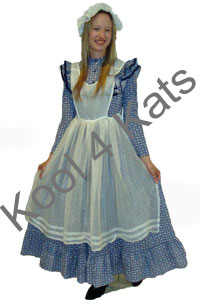 Colonial Girl Blue 1800's Costume for hire at Kool 4 Kats