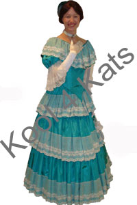 1900's Ballgown Blue Costume for hire at Kool 4 Kats