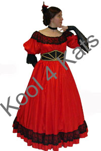 1900's Ballgown Red Costume for hire at Kool 4 Kats