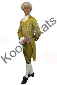 1700's Period Gentleman Green Costume for hire at Kool 4 Kats