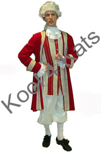 1700's Period Gentleman Red Costume for hire at Kool 4 Kats