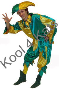 Medieval Jester Green and Gold for hire at Kool 4 Kats