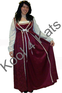 Medieval Maiden in Maroon for hire at Kool 4 Kats