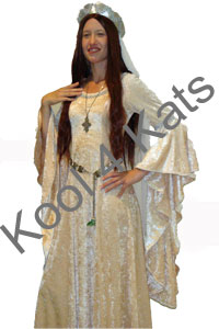 Medieval Maiden in Peach Velvet for hire at Kool 4 Kats