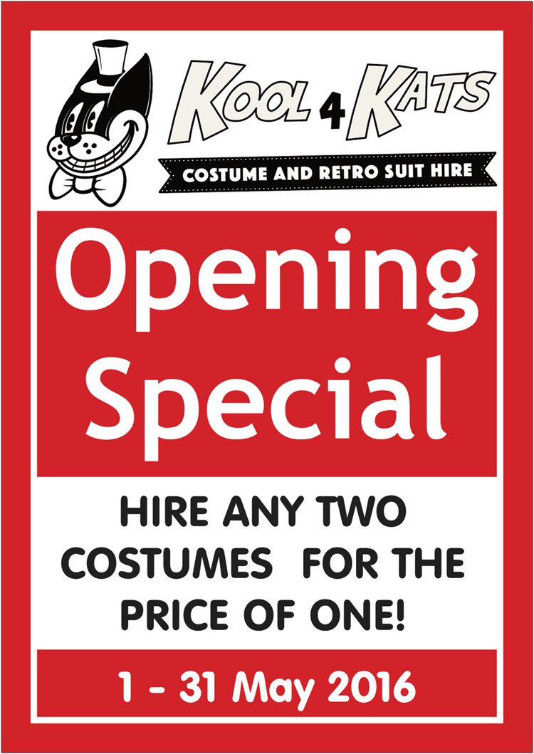 Kool 4 Kats Special 2 for 1 Costume Hire Deal - Book in May for any date in 2016